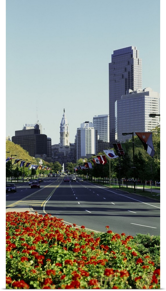 Poster Print Wall Art entitled Buildings in a city, Benjamin Franklin Parkway,