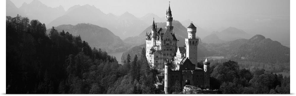 Poster Print Wall Art entitled Castle on a hill, Neuschwanstein Castle, Bavaria,