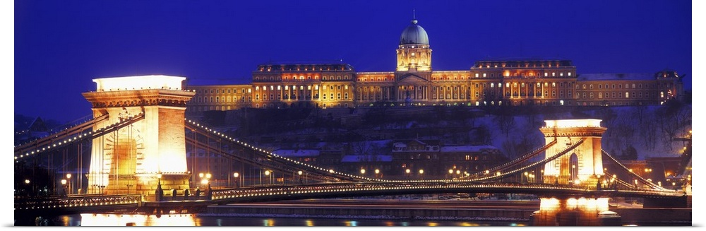 Poster Print Wall Art entitled Chain Bridge Royal Palace Budapest Hungary