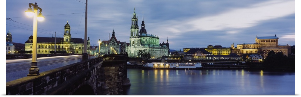 Poster Print Wall Art entitled Church lit up at dusk, Dresden, Germany
