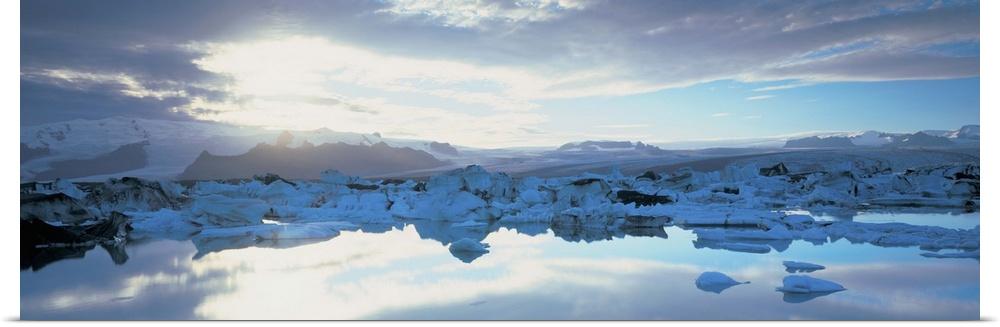 Poster Print Wall Art entitled Icebergs in a lake, Jokulsarlon Lagoon, Iceland