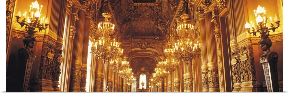 Poster Print Wall Art entitled Interior Opera Paris France