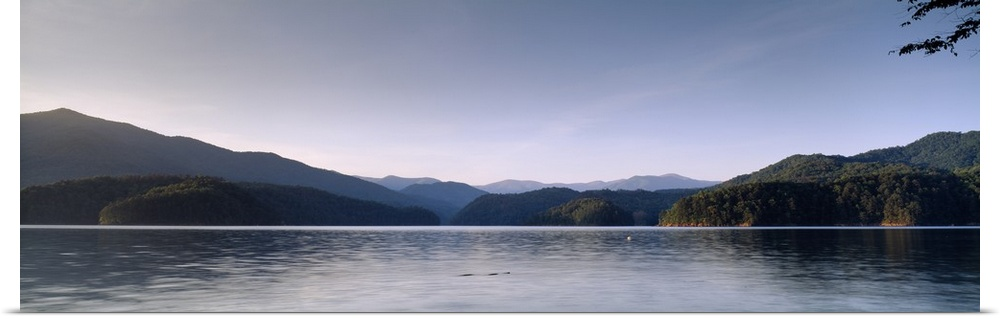 Poster Print Wall Art entitled Lake in front of mountains, Fontana Lake, North