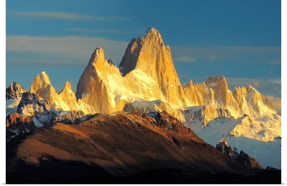 Poster Print Wall Art entitled Low angle view of mountains, Mt Fitzroy,