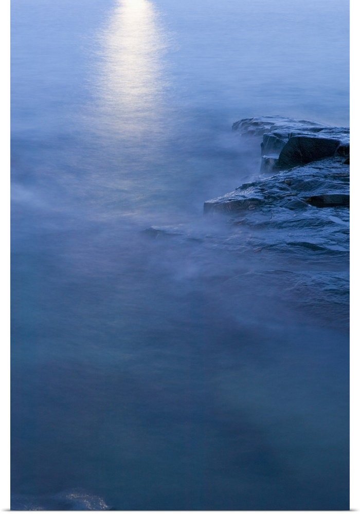 Poster Print Wall Art entitled Moon reflected in calm water of Lake Superior,
