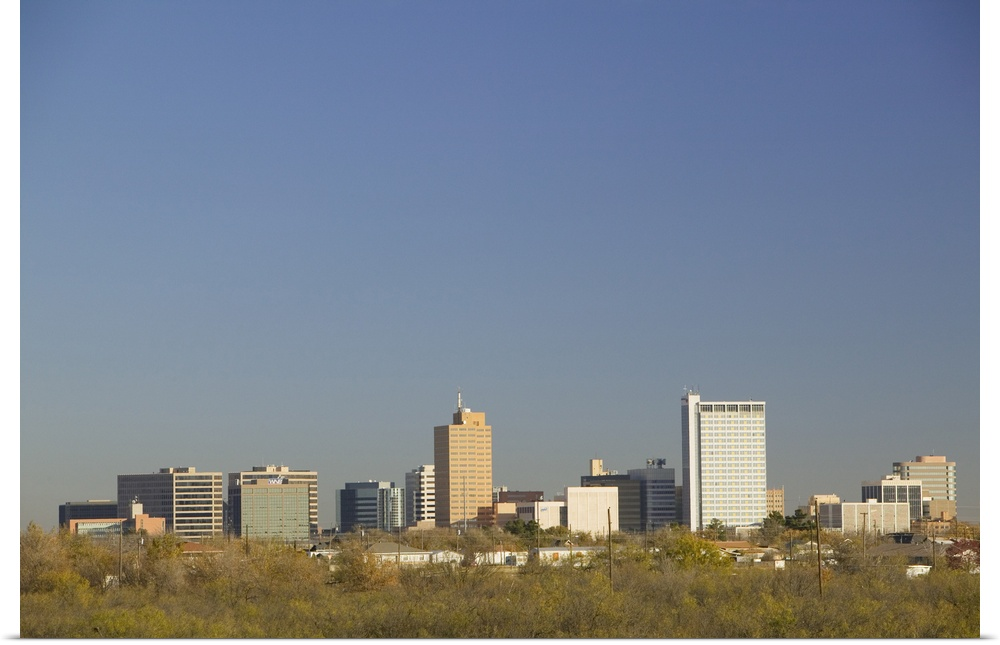 Poster Print Wall Art entitled Skyline of a city, Midland, Texas
