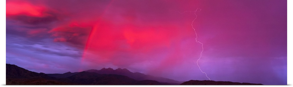 Poster Print Wall Art entitled Sunset With Lightning And Rainbow Four Peaks