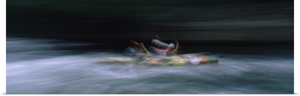 Poster Print Wall Art entitled Two kayakers participating in a race, Nantahala