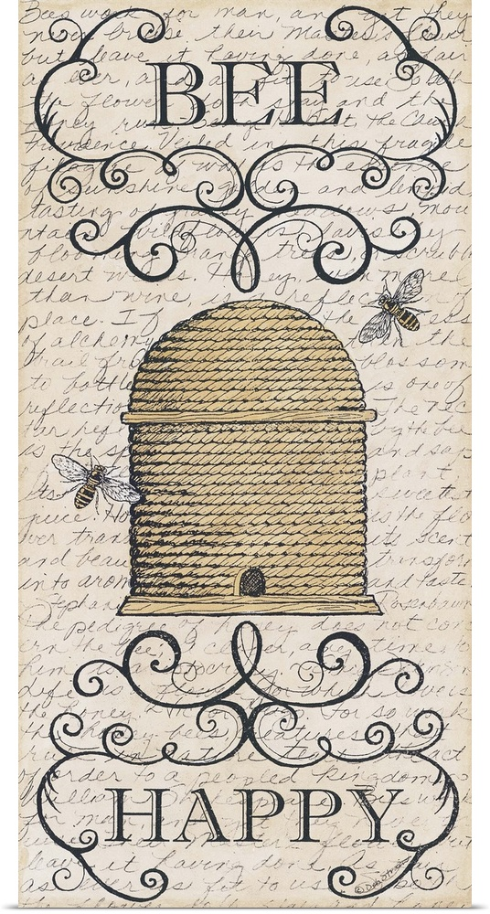 Poster Print Wall Art entitled Bee Happy