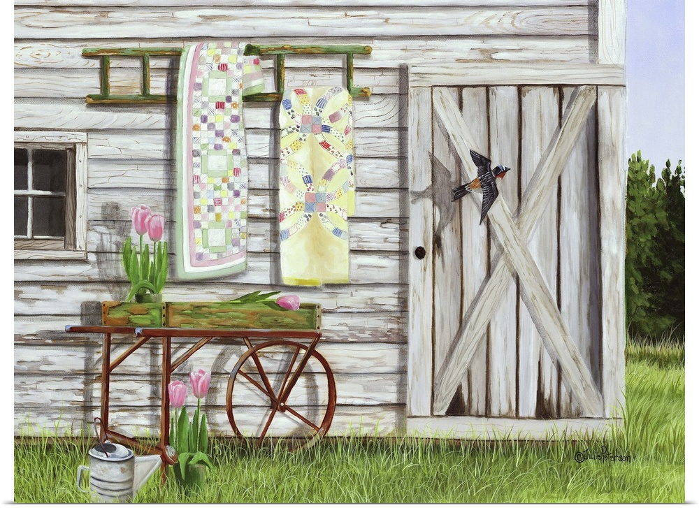 Poster Print Wall Art entitled Garden Shed And Swallow