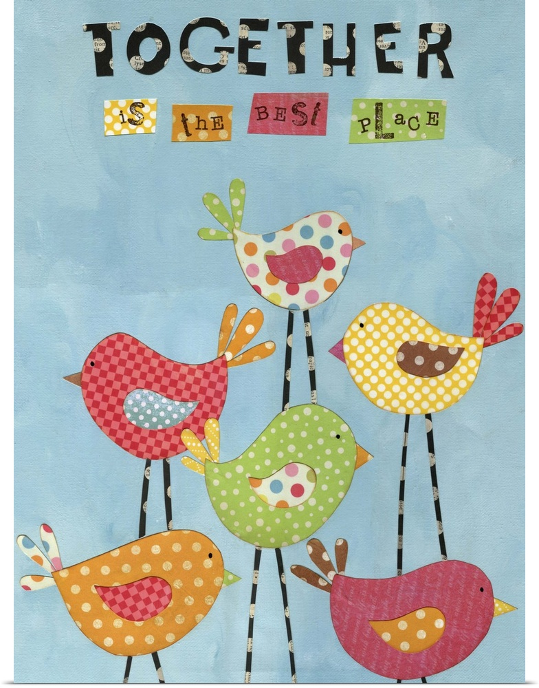 Poster Print Wall Art entitled Together Birds