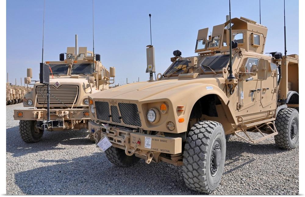 Poster Print Wall Art entitled An M ATV Mine Resistant Ambush Prossoected vehicle