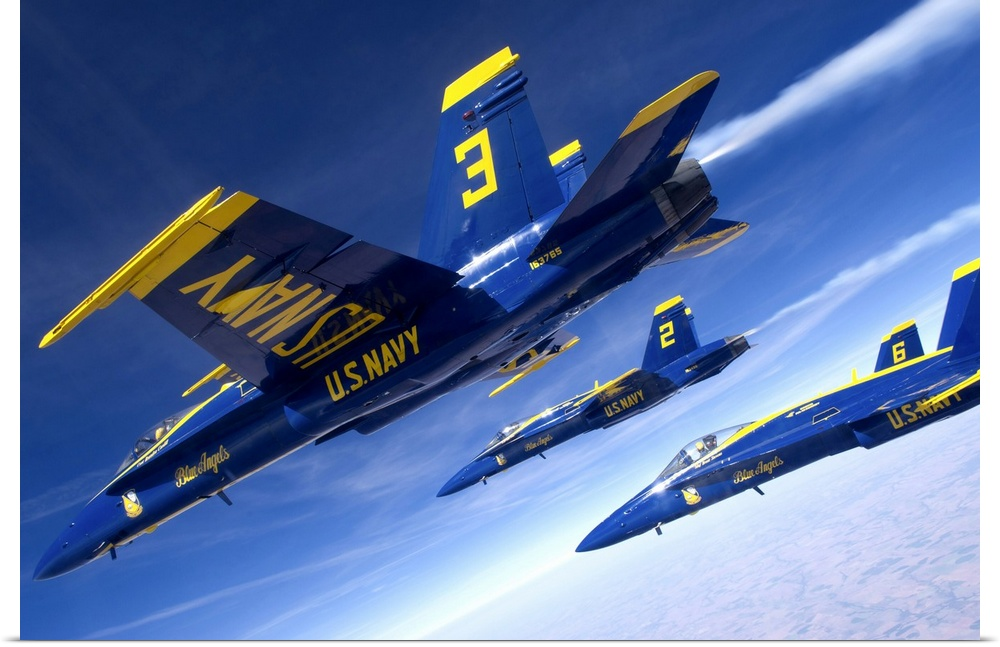 Poster Print Wall Art entitled F A-18 Hornets of the blu Angels fly in