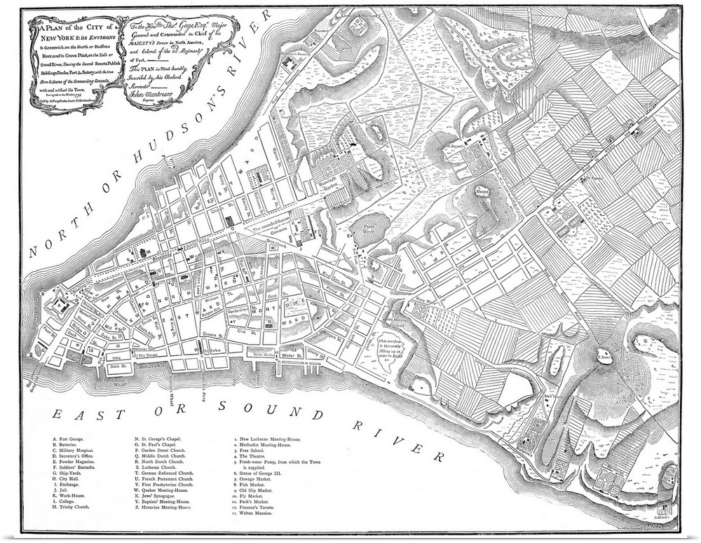 Poster Print Wall Art entitled New York Map, 1775