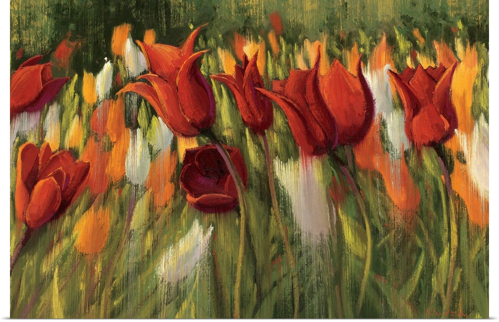 Poster Print Wall Art entitled Tipsy Tulips
