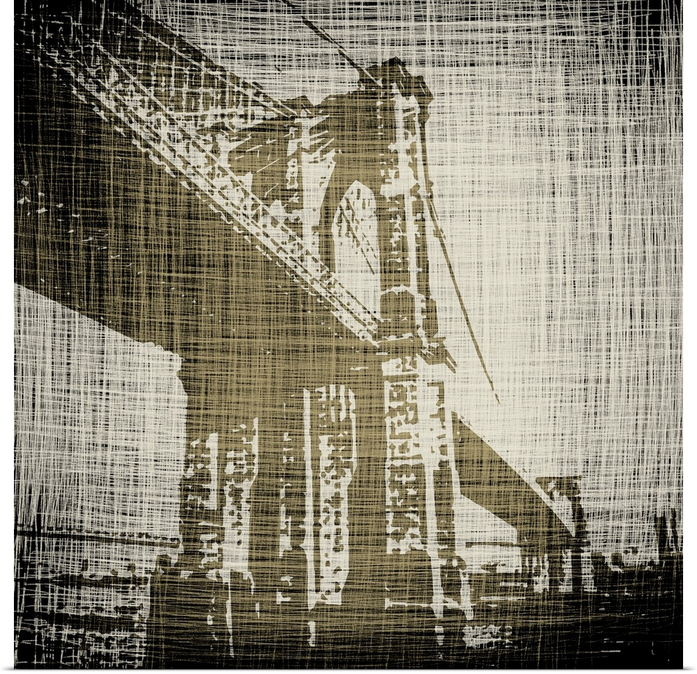 Poster Print Wall Art entitled Bridges of New York I