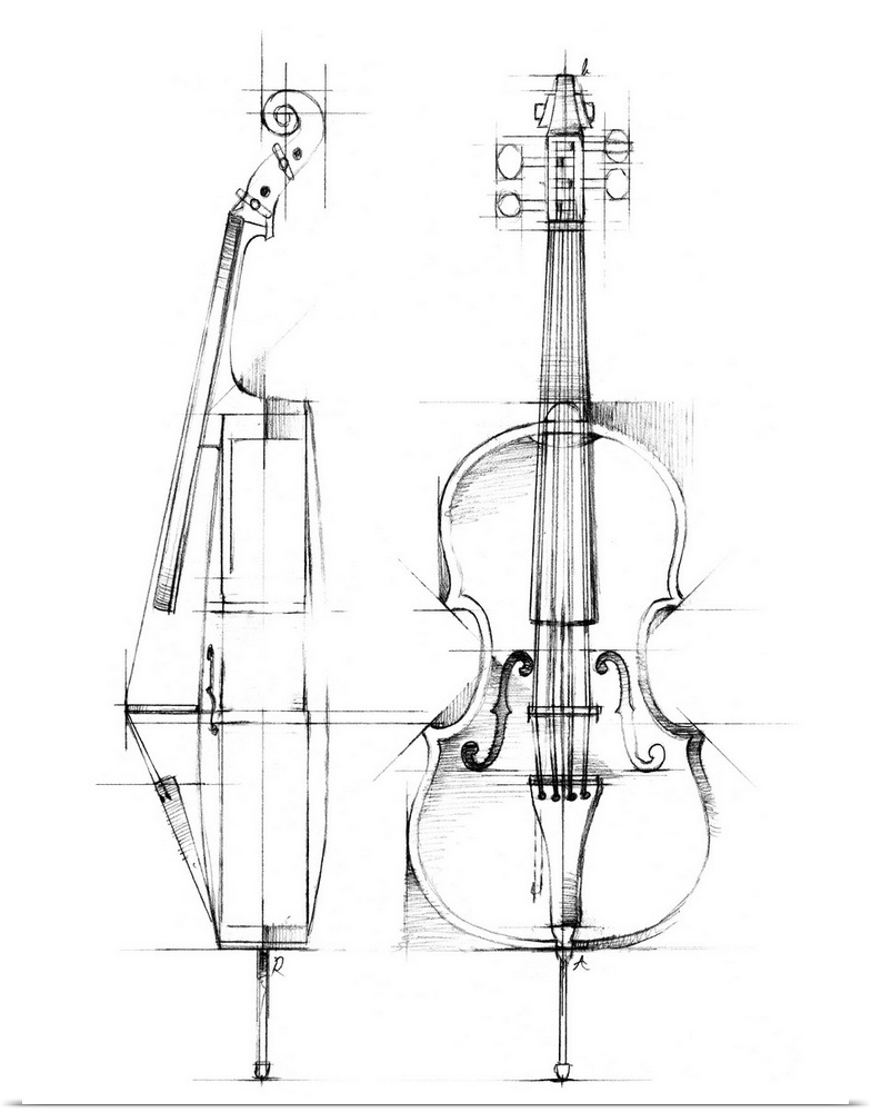 Poster Print Wall Art entitled Cello Sketch