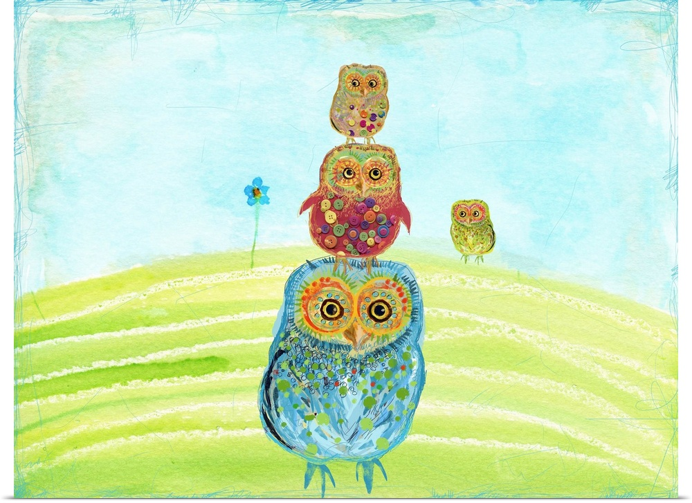 Poster Print Wall Art entitled Owl Totem