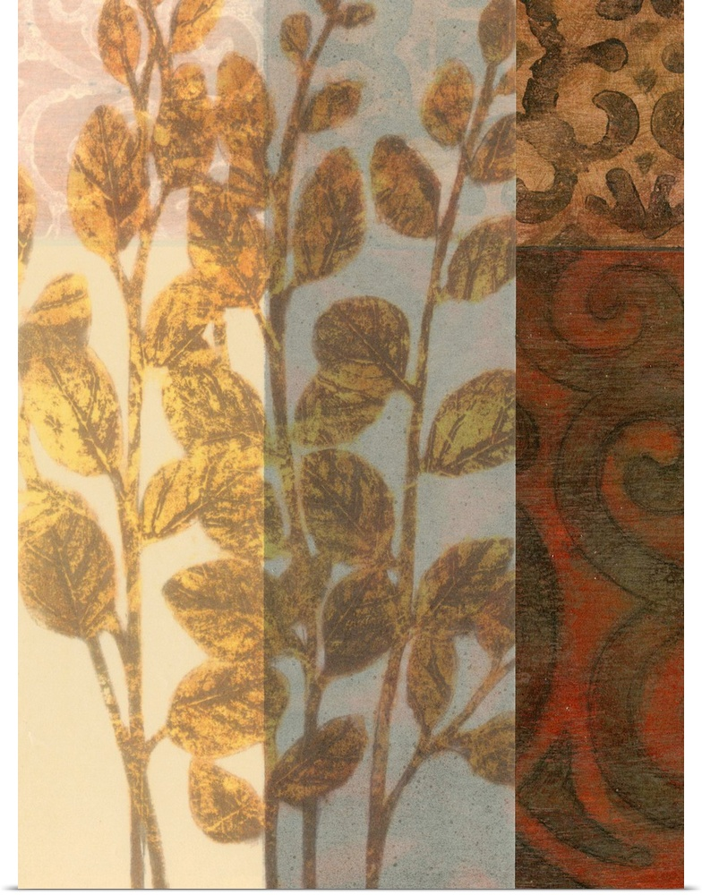 Poster Print Wall Art entitled Tapestry with Leaves I