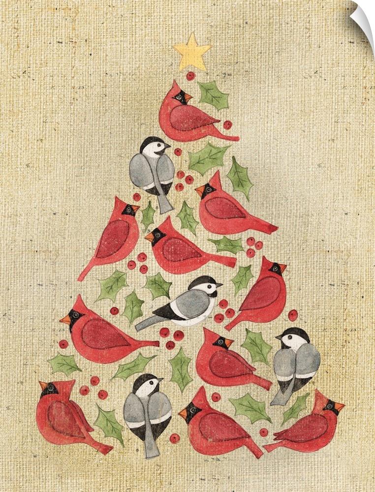 wand abziehbild entitled Christmas Tree Cardinals