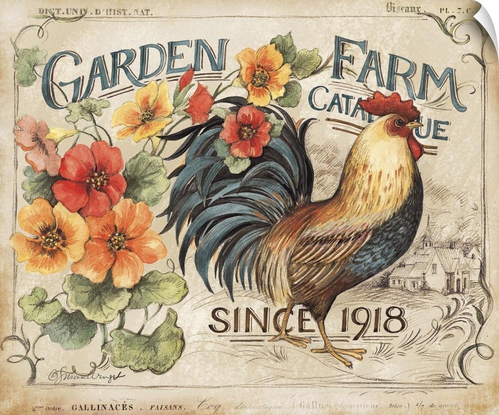 wand abziehbild entitled Garden Farm Rooster
