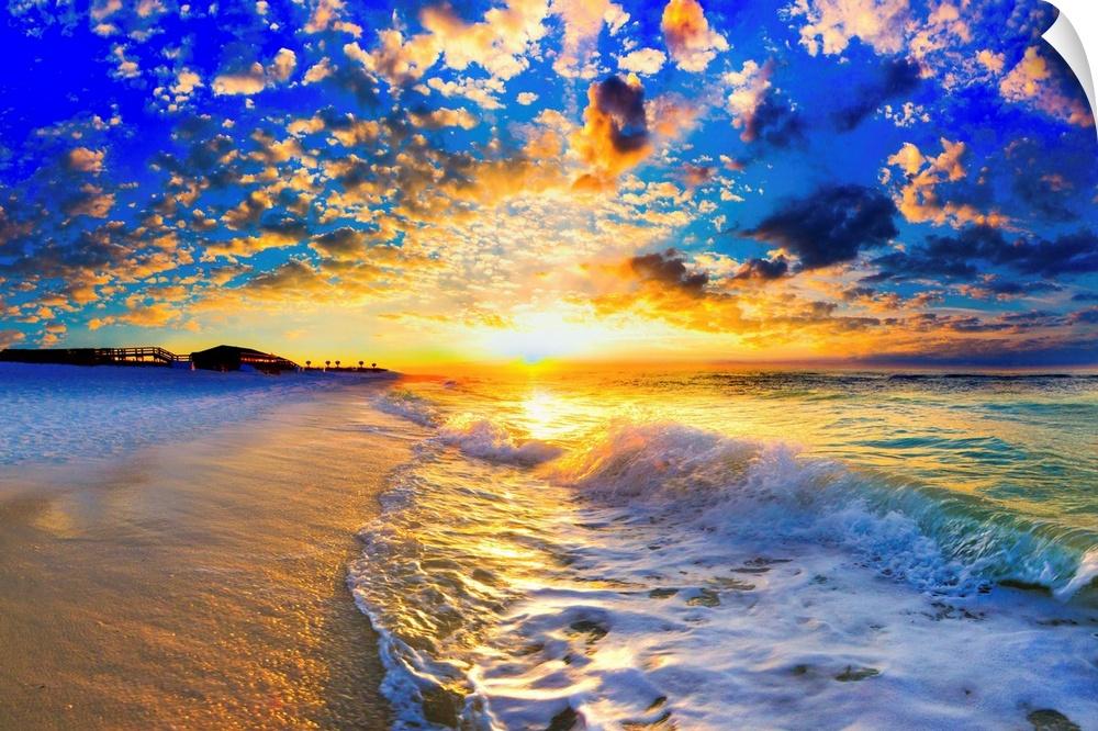 wand abziehbild entitled Beautiful Ocean Sunset Landscape fotography