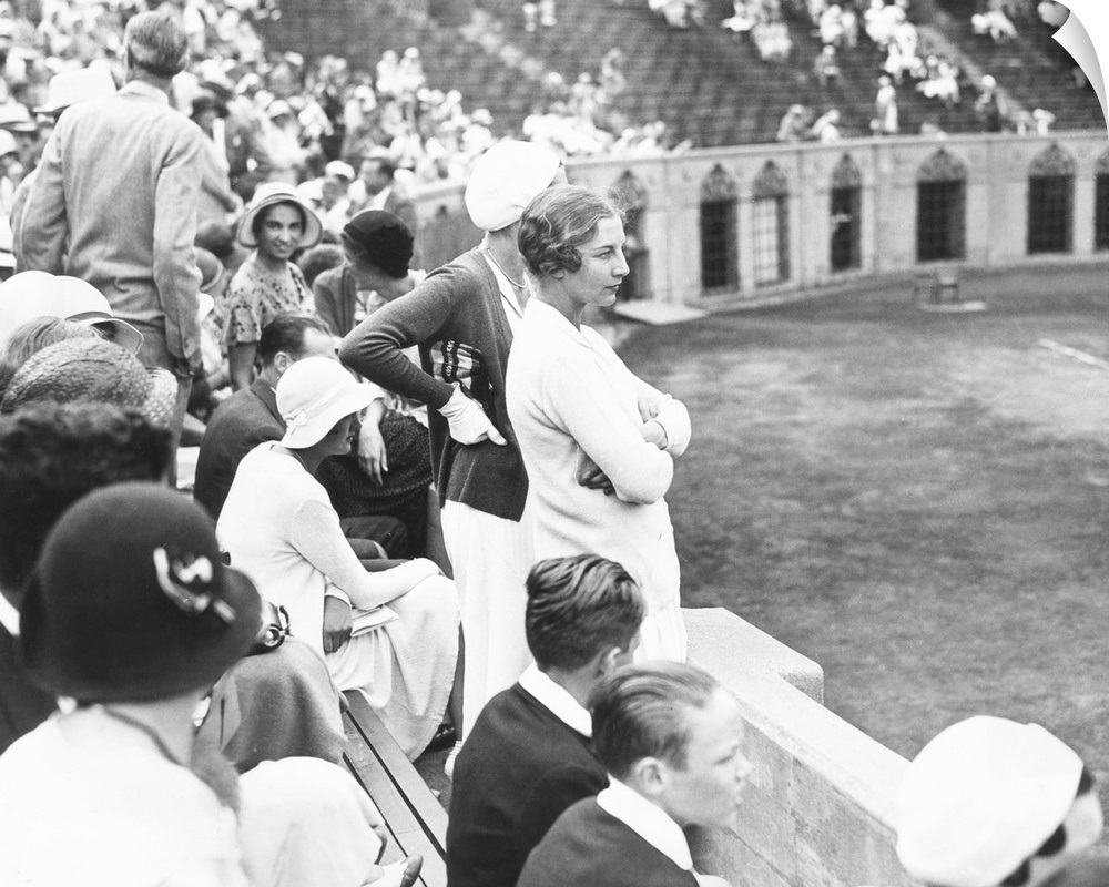 """""""Helen Wills Moody watching tennis match at Forest Hills, Lo"""