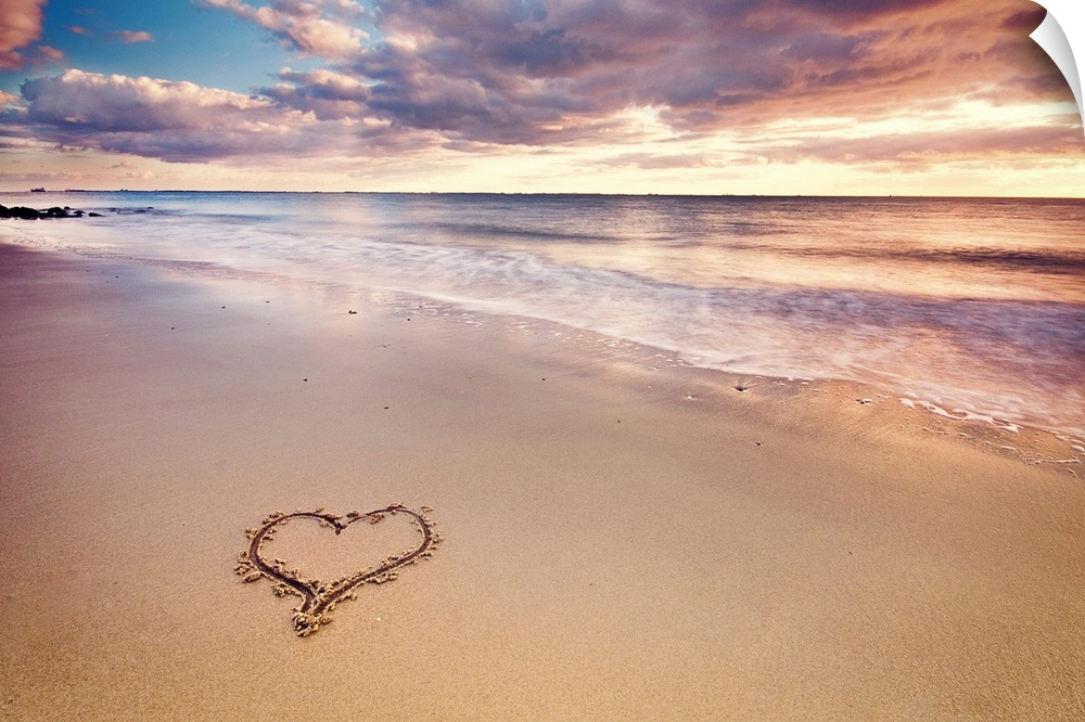 Wall Decal entitled A heart in the sand on a Dutch beach during sunset.