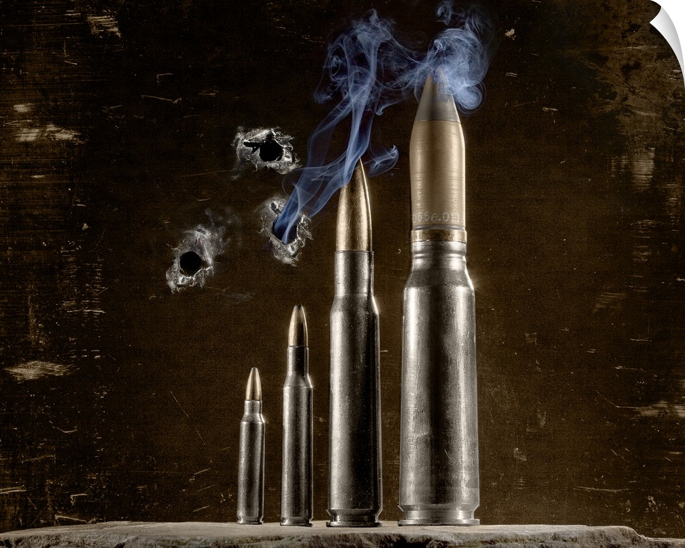 Wall Decal entitled Four different calibers of bullets  with smoke