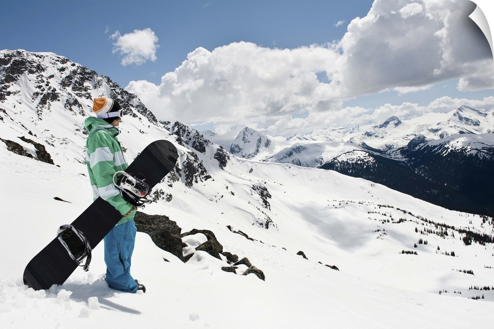 Wall Decal entitled Male snowboarder