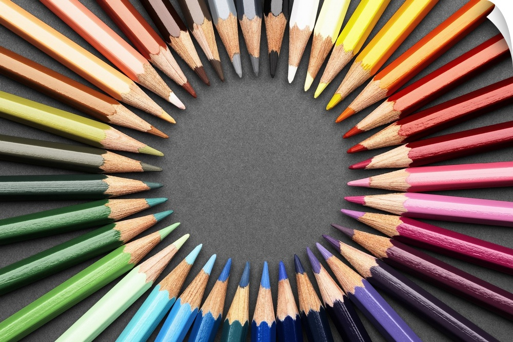 Wall Decal entitled Multi-colourosso pencils arranged in a circle