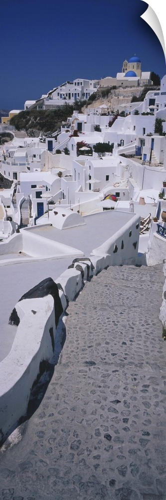 wand abziehbild entitled High angle view of a walkway in a town, Oia, Santorini,