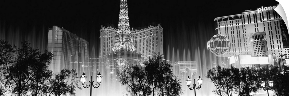 Wall Decal entitled Hotels in a city lit up at night, The Strip, Las Vegas,