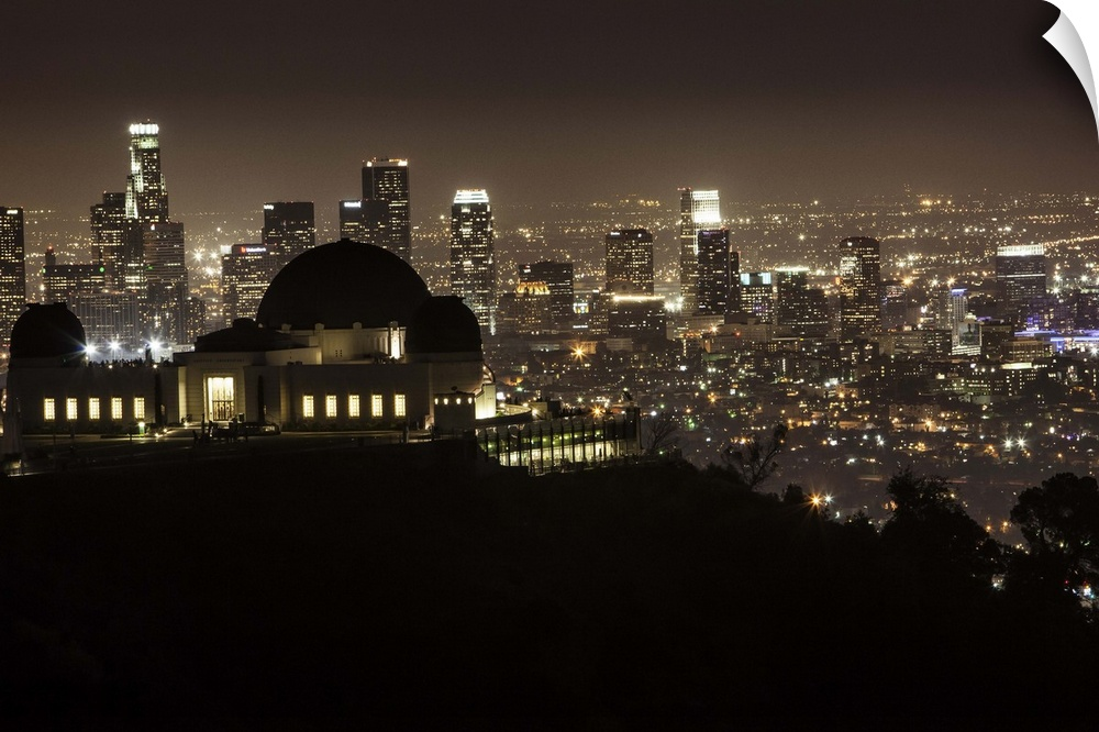 Wall Decal entitled Griffith Park Observatory and downtown LA at night