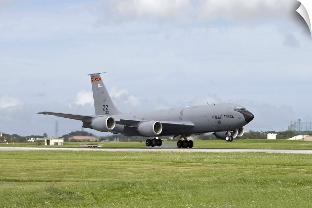 Wall Decal entitled A KC-135 Stratotanker lands on the runway at Kadena Air