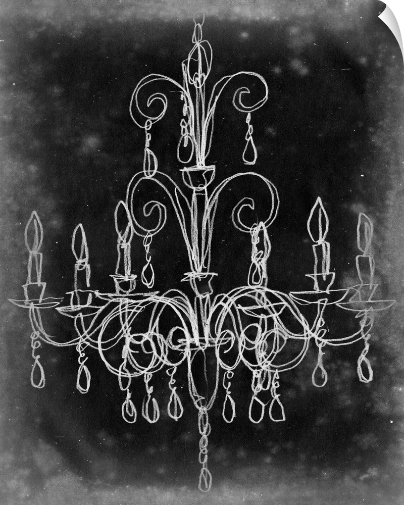 wand abziehbild entitled Chalkboard Chandelier Sketch II
