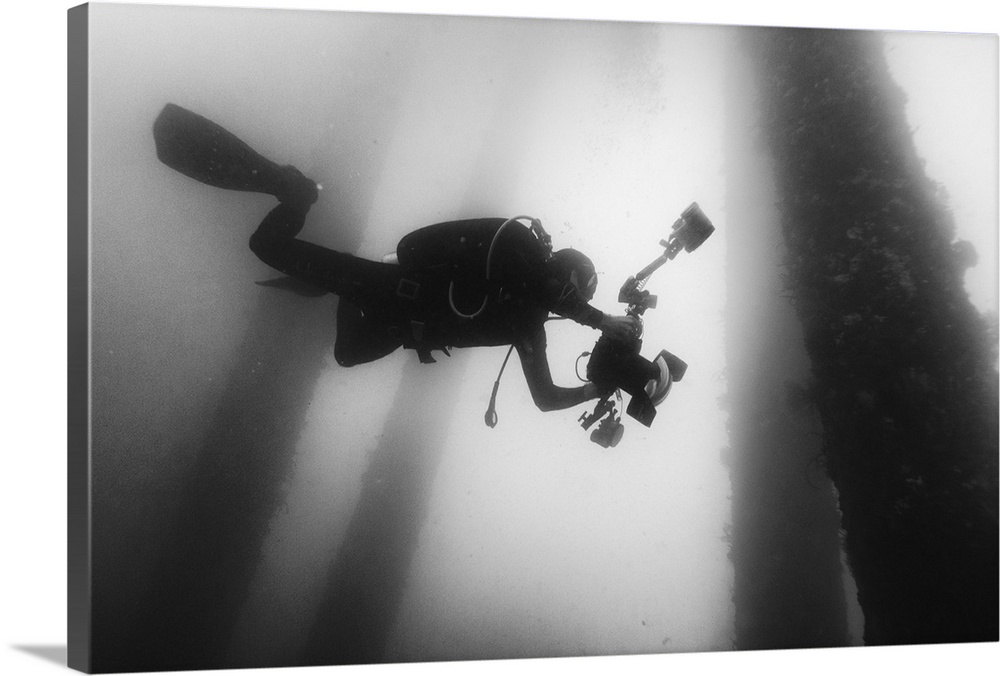 Large Solid-Faced Canvas Print Wall Art Print 30 x 20 entitled Fall Into The Silence Solid-Faced Canvas Print entitled Fall Into The Silence.  A scuba diver dives deep down into the ocean with a camera hoping to catch some interesting shots.  Multiple sizes available.  Primary colors within this image include Dark Gray, Silver.  Made in the USA.  All products come with a 365 day workmanship guarantee.  Inks used are latex-based and designed to last.  Featuring a proprietary design, our canvases produce the tightest corners without any bubbles, ripples, or bumps and will not warp or sag over time.  Canvas is handcrafted and made-to-order in the United States using high quality artist-grade canvas.