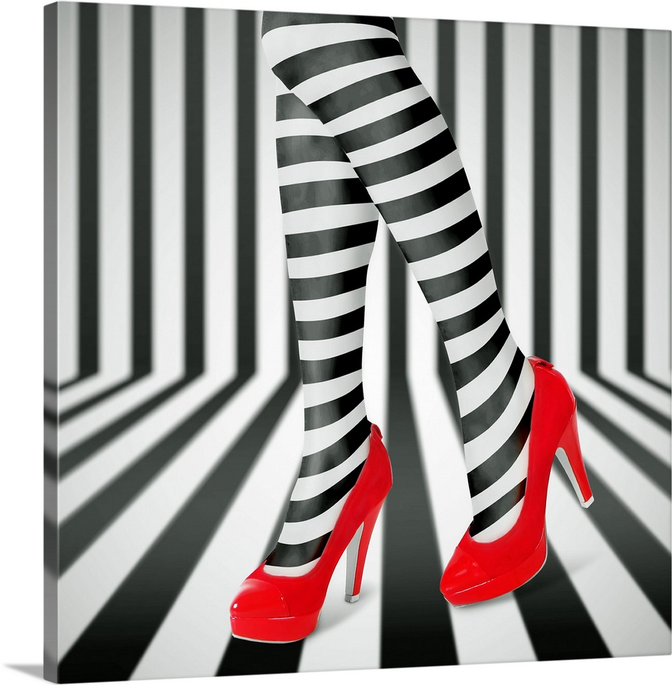 Large Solid-Faced Canvas Print Wall Art Print 20 x 20 entitled Red Shoes Solid-Faced Canvas Print entitled Red Shoes.  Womans legs wearing black and white striped leggings and bright red high heels, against a matching striped background.  Multiple sizes available.  Primary colors within this image include Red, Dark Gray, Silver.  Made in USA.  Satisfaction guaranteed.  Archival-quality UV-resistant inks.  Canvas is handcrafted and made-to-order in the United States using high quality artist-grade canvas.  Canvas depth is 1.25 and includes a finished backing with pre-installed hanging hardware.