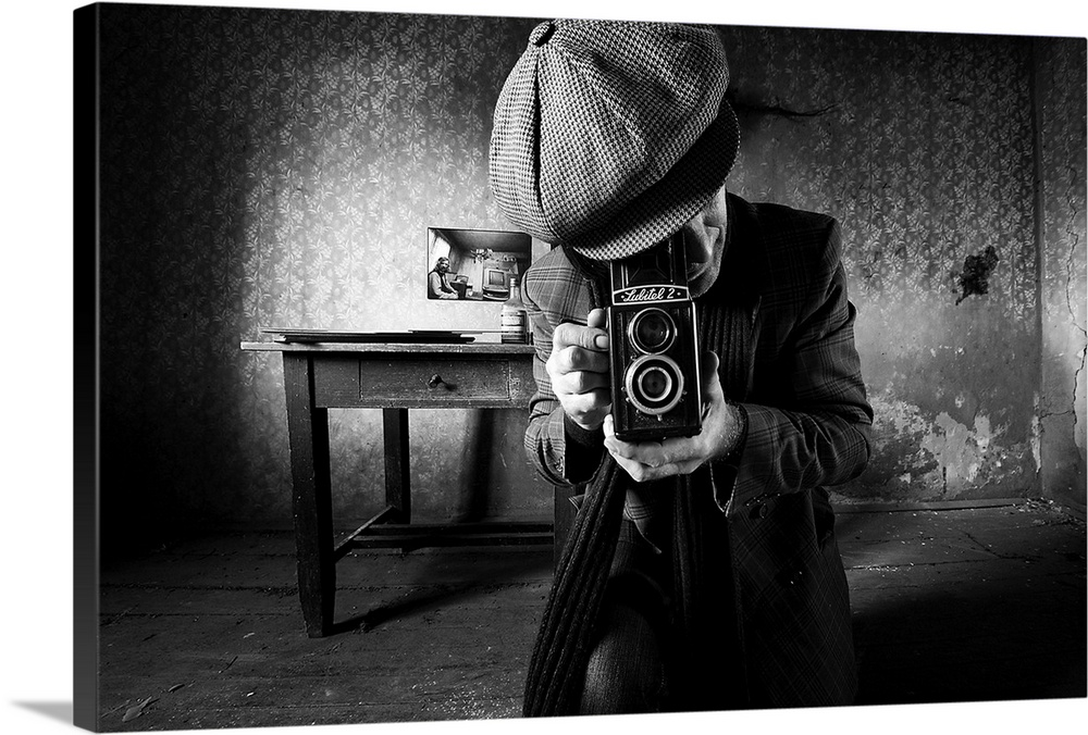 Large Solid-Faced Canvas Print Wall Art Print 30 x 20 entitled Taking A Shot Solid-Faced Canvas Print entitled Taking A Shot.  A man taking a photo with a vintage film camera in an abandoned room with peeling wallpaper.  Multiple sizes available.  Primary colors within this image include Black, Light Gray, White.  Made in USA.  Satisfaction guaranteed.  Inks used are latex-based and designed to last.  Archival inks prevent fading and preserve as much fine detail as possible with no over-saturation or color shifting.  Featuring a proprietary design, our canvases produce the tightest corners without any bubbles, ripples, or bumps and will not warp or sag over time.