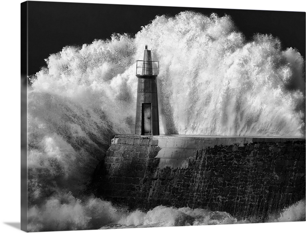 Large Solid-Faced Canvas Print Wall Art Print 40 x 30 entitled The Lighthouse Solid-Faced Canvas Print entitled The Lighthouse.  OLYMPUS DIGITAL CAMERA.  Multiple sizes available.  Primary colors within this image include Dark Gray, Silver.  Made in the USA.  Satisfaction guaranteed.  Archival-quality UV-resistant inks.  Canvas is handcrafted and made-to-order in the United States using high quality artist-grade canvas.  Canvas depth is 1.25 and includes a finished backing with pre-installed hanging hardware.