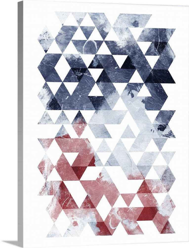 Solid-Faced Canvas Print Wall Art entitled Americana Triangles Too
