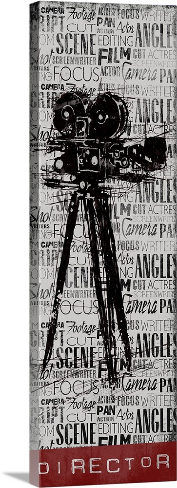 Large Solid-Faced Canvas Print Wall Art Print 16 x 48 entitled Director Solid-Faced Canvas Print entitled Director.  A vintage camera on a background filled with layers of text, with the word Director at the bottom.  Multiple sizes available.  Primary colors within this image include Dark Red, Black, Gray, Silver.  Made in the USA.  Satisfaction guaranteed.  Archival-quality UV-resistant inks.  Canvas is handcrafted and made-to-order in the United States using high quality artist-grade canvas.  Archival inks prevent fading and preserve as much fine detail as possible with no over-saturation or color shifting.