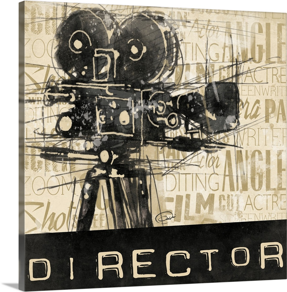 Large Solid-Faced Canvas Print Wall Art Print 20 x 20 entitled Director Solid-Faced Canvas Print entitled Director.  Contemporary artwork with sketch stylized movie camera against a text background. The word Director  at the bottom of the image.  Multiple sizes available.  Primary colors within this image include Black, Gray, Silver.  Made in USA.  Satisfaction guaranteed.  Archival-quality UV-resistant inks.  Canvas is handcrafted and made-to-order in the United States using high quality artist-grade canvas.  Featuring a proprietary design, our canvases produce the tightest corners without any bubbles, ripples, or bumps and will not warp or sag over time.
