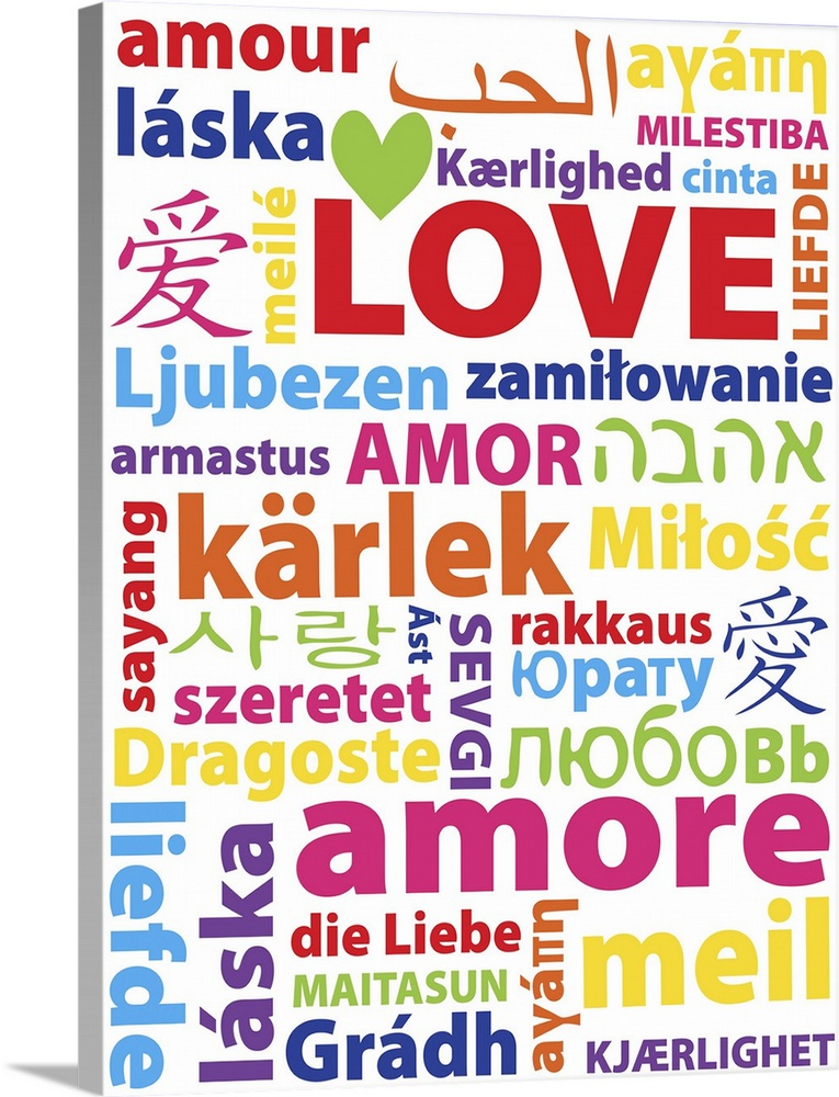 Large Solid-Faced Canvas Print Wall Art Print 30 x 40 entitled Love Every Language Solid-Faced Canvas Print entitled Love Every Language.  Typography art with the word Love in many different languages.  Multiple sizes available.  Primary colors within this image include Dark Red, Light Yellow, Sky Blue, White.  Made in USA.  Satisfaction guaranteed.  Inks used are latex-based and designed to last.  Archival inks prevent fading and preserve as much fine detail as possible with no over-saturation or color shifting.  Canvas is handcrafted and made-to-order in the United States using high quality artist-grade canvas.