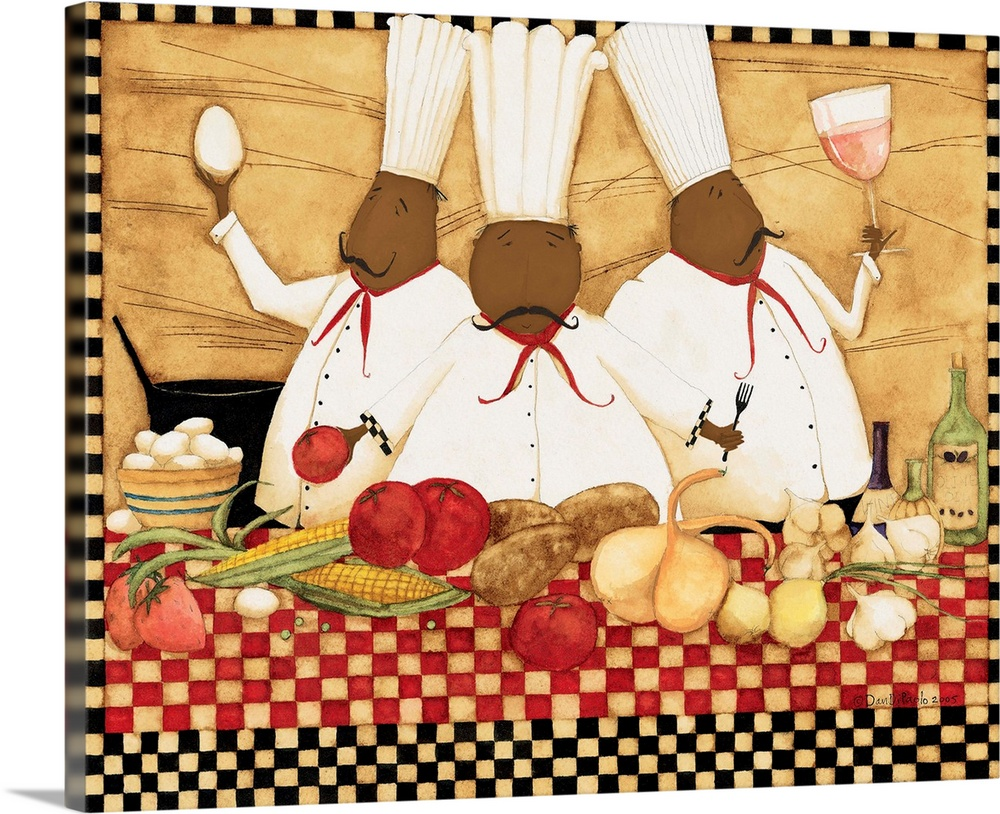 Large Solid-Faced Canvas Print Wall Art Print 30 x 24 entitled Loves To Cook Solid-Faced Canvas Print entitled Loves To Cook.  Three happy chefs, tasting wine, holding and egg, and preparing a meal.  Multiple sizes available.  Primary colors within this image include Dark Red, Peach, Dark Forest Green.  Made in USA.  Satisfaction guaranteed.  Archival-quality UV-resistant inks.  Canvas is handcrafted and made-to-order in the United States using high quality artist-grade canvas.  Featuring a proprietary design, our canvases produce the tightest corners without any bubbles, ripples, or bumps and will not warp or sag over time.