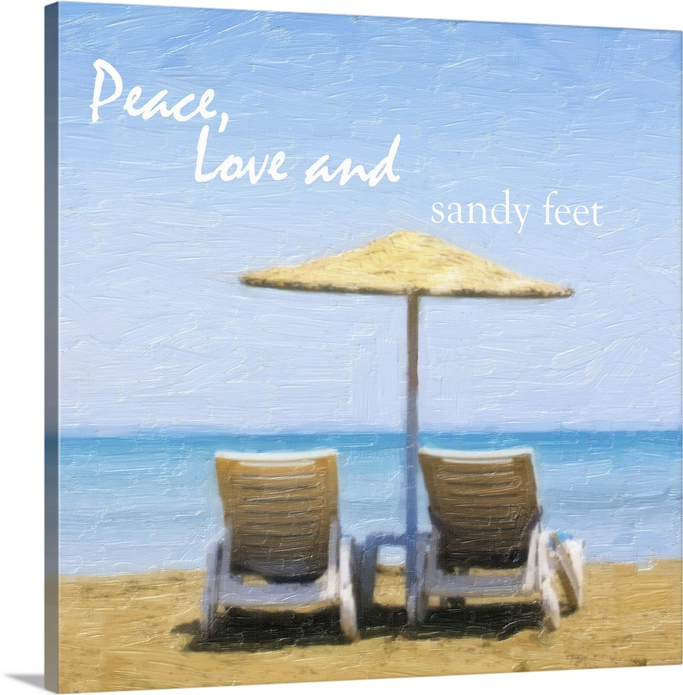 Large Solid-Faced Canvas Print Wall Art Print 20 x 20 entitled Peace, Love and Sandy Solid-Faced Canvas Print entitled Peace, Love and Sandy.  Multiple sizes available.  Primary colors within this image include Peach, Dark Forest Green, Pale Blue.  Made in the USA.  Satisfaction guaranteed.  Archival-quality UV-resistant inks.  Featuring a proprietary design, our canvases produce the tightest corners without any bubbles, ripples, or bumps and will not warp or sag over time.  Archival inks prevent fading and preserve as much fine detail as possible with no over-saturation or color shifting.
