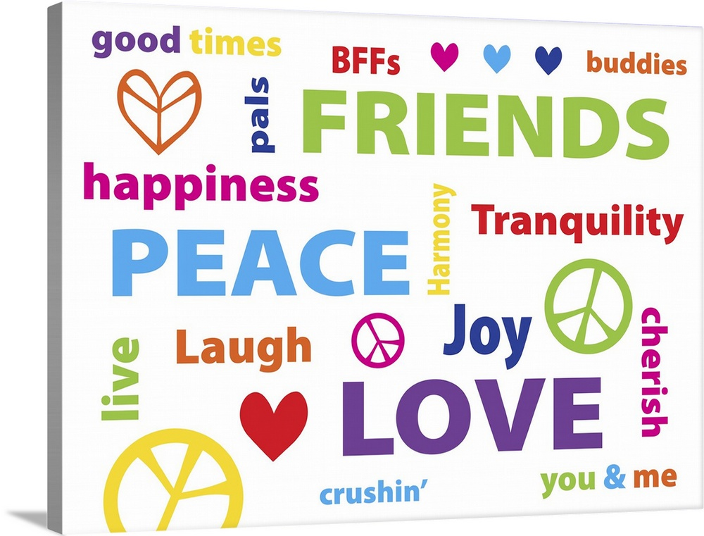 Large Solid-Faced Canvas Print Wall Art Print 40 x 30 entitled Peace Love Friends Solid-Faced Canvas Print entitled Peace Love Friends.  Typography art with the words Peace, Love, Friends in many different languages.  Multiple sizes available.  Primary colors within this image include Fuschia, Light Yellow, Sky Blue, White.  Made in the USA.  Satisfaction guaranteed.  Inks used are latex-based and designed to last.  Canvas is handcrafted and made-to-order in the United States using high quality artist-grade canvas.  Archival inks prevent fading and preserve as much fine detail as possible with no over-saturation or color shifting.
