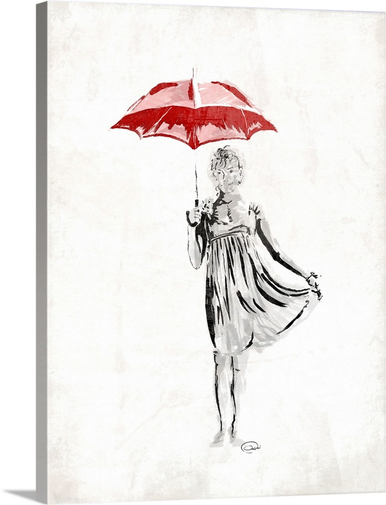 Large Solid-Faced Canvas Print Wall Art Print 30 x 40 entitled Romantic Love II Solid-Faced Canvas Print entitled Romantic Love II.  Contemporary piece of art with a woman holding a red umbrella.  Multiple sizes available.  Primary colors within this image include Dark Red, Dark Gray, White.  Made in USA.  Satisfaction guaranteed.  Inks used are latex-based and designed to last.  Canvas is handcrafted and made-to-order in the United States using high quality artist-grade canvas.  Featuring a proprietary design, our canvases produce the tightest corners without any bubbles, ripples, or bumps and will not warp or sag over time.