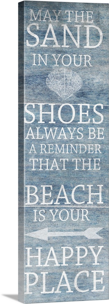Large Solid-Faced Canvas Print Wall Art Print 12 x 36 entitled Sand From The Beach Solid-Faced Canvas Print entitled Sand From The Beach.  May the sand in your shoes always be a reminder that the beach is your happy place.  Multiple sizes available.  Primary colors within this image include Black, Gray, White.  Made in the USA.  Satisfaction guaranteed.  Inks used are latex-based and designed to last.  Canvas is handcrafted and made-to-order in the United States using high quality artist-grade canvas.  Featuring a proprietary design, our canvases produce the tightest corners without any bubbles, ripples, or bumps and will not warp or sag over time.