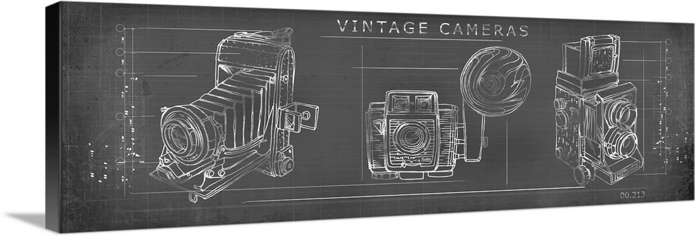 Large Solid-Faced Canvas Print Wall Art Print 48 x 16 entitled Vintage Cameras Solid-Faced Canvas Print entitled Vintage Cameras.  Multiple sizes available.  Primary colors within this image include Gray, Silver.  Made in the USA.  All products come with a 365 day workmanship guarantee.  Archival-quality UV-resistant inks.  Featuring a proprietary design, our canvases produce the tightest corners without any bubbles, ripples, or bumps and will not warp or sag over time.  Archival inks prevent fading and preserve as much fine detail as possible with no over-saturation or color shifting.